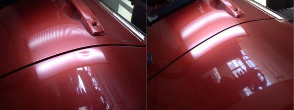 czerwony lakier przed i po